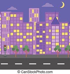 city., 背景, 夜晚