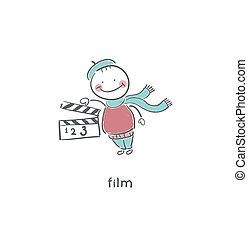 clapboard., 空白的板岩, 電影, 或者
