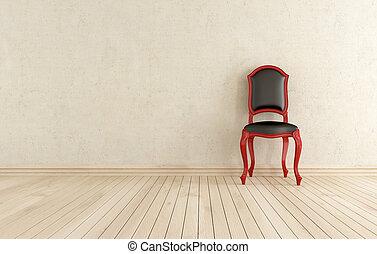 classici, 針對, 黑色, 牆, 椅子, 紅色
