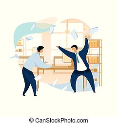 clipart, 憤怒, 老板, 呼喊, 矢量, 雇員