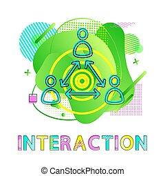 co-working, 相互作用, 箭, 人類, 符號