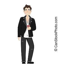 coffee., 杯子, 皮革外套, 流行, 牛仔褲, 年輕, 騎自行車的人, 紙, 黑色, 人
