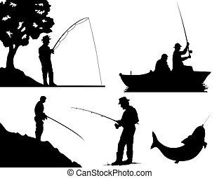 colour., 插圖, 黑色半面畫像, 矢量, 黑色, 漁夫