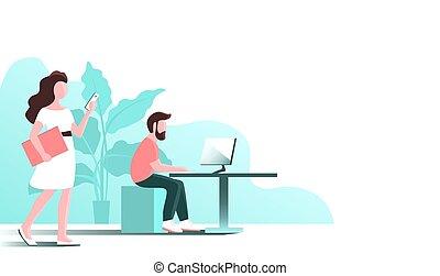 computer., 人們, 工作, 年輕, 辦公室