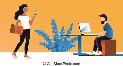 computer., 人們, 年輕, 辦公室工作