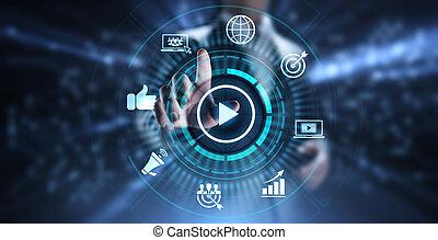 concept., 做廣告, 在網上, 因特網商業, 銷售, 影像