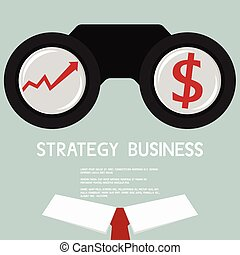 concept., 商人, 發展圖表, 看, 錢, .vision