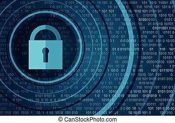 concept., 挂鎖, 數字的背景, 技術, 安全, 關閉