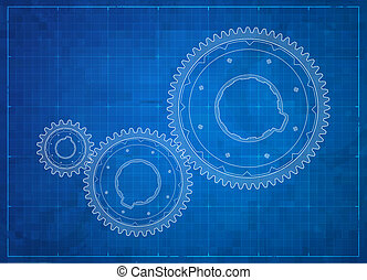 concept., 齒輪, 事務, blueprint.