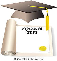 copyspace, 帽子, 畢業証書, 畢業, 2010, 類別