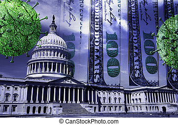 coronavirus, 錢, 美國美國國會大廈