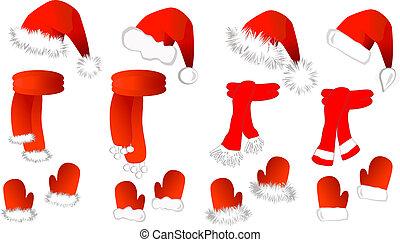 cristmas, 圍巾, 克勞斯, 圣帽子, 連指手套, set:
