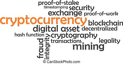 cryptocurrency, 詞, -, 雲