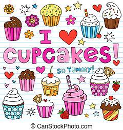 cupcakes, 集合, 矢量, doodles