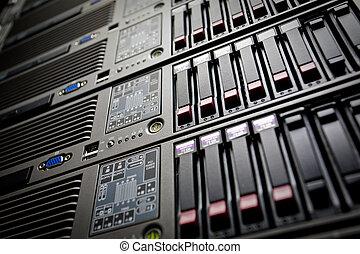 datacenter, 堆, 嚴重地開車, 服務器