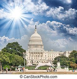 dc., 州議會大廈, 在上方, 顏色, 傍晚, 華盛頓