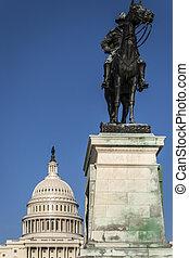 dc., 州議會大廈, 應承, 華盛頓, 我們, 一般, 雕像, 前面
