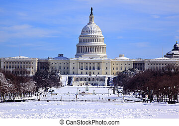dc, 州議會大廈, 我們, 雪圓屋頂, 國會, 房子, 華盛頓, 以後