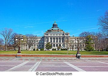 dc., 建築物, 托馬斯, 陽光普照, 華盛頓, 圖書館, 國會, afternoon., jefferson, 春天, 建築物