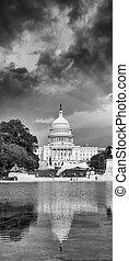 dc., 美麗, 州議會大廈, 樹。, 湖華盛頓, 傍晚, 看法
