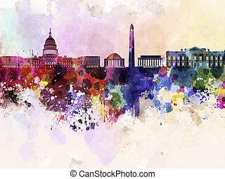 dc, 背景, 地平線, 水彩, 華盛頓