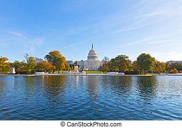 dc, usa., 秋天, 州議會大廈, 華盛頓, 后來, 小山, 全景, 池, 反映
