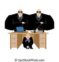 debts., 隱藏, 商業辦公室, 惊嚇, 工作, repay, 插圖, 老板, arrears., desk., 矢量, 商人, 在下面, board., 桌子, 懼怕, collector., 受驚, 人