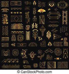 deco, 藝術, 葡萄酒, -, 手, 矢量, 設計, 框架, 畫, 元素
