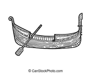 design., 畫, t恤衫, 划船, imitation., 手, 平底小船, 雕刻, 套間, 印刷品, 小船, 矢量, 衣服, image., 略述, 抓痕, bottomed, 黑色, 白色, illustration., 維尼斯人, 板