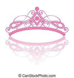 diadem., tiara, 反映, 高雅, 女性