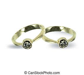 diamond., 矢量, 戒指, 金, 婚禮
