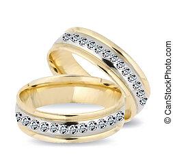 diamonds., 矢量, 戒指, 金, 婚禮