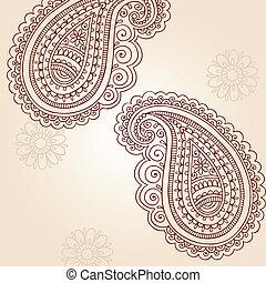 doodles, 佩斯利螺旋花紋呢, 矢量, 指甲花