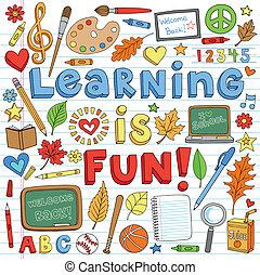 doodles, 學校, 集合, 背, 學習