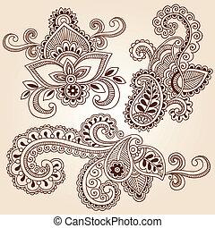 doodles, 矢量, 集合, 指甲花, 筆記本