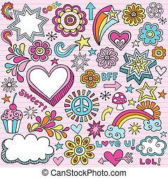 doodles, 筆記本, 學校, 矢量