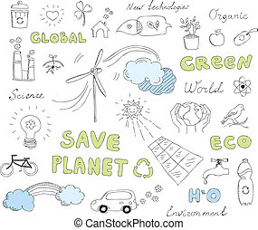 doodles, 集合, 矢量, 生態學, 元素
