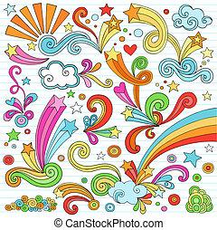 doodles, 集合, 筆記本, 矢量