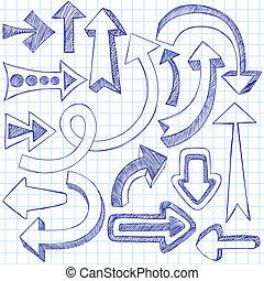 doodles, sketchy, 矢量, 箭, 集合