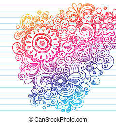 doodles, sketchy, 矢量, 花