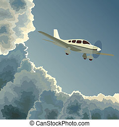 dusk., 飛機, 云霧, 私人