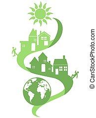 eco, 自然, 社區, 背景