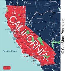 editable, 加利福尼亞國家, 地圖, 詳細