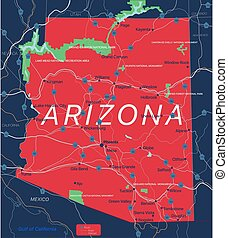 editable, 狀態 地圖, 亞利桑那, 詳細