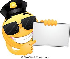 emoticon, 指, 警察, 笑臉符, 板, 白色