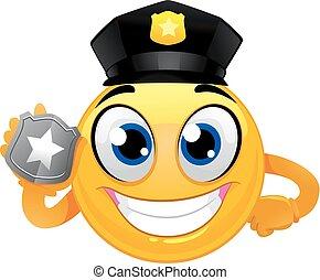 emoticon, 笑臉符, 徽章, 藏品, 警察