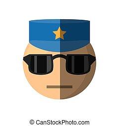 emoticon, 設計, 卡通, 警察