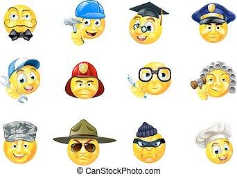 emoticon, 集合, 工作, 職業, 工作, emoji