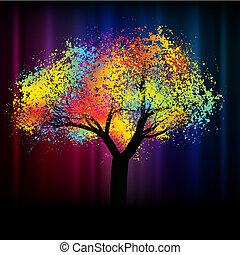 .eps, 鮮艷, 空間, 摘要, 樹。, 8, 模仿