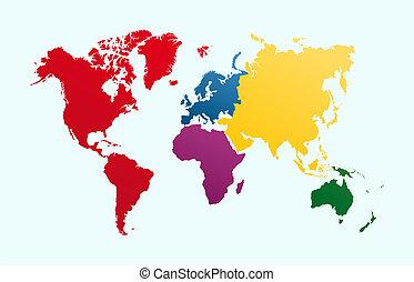 eps10, 大陸, 鮮艷, 地圖, 矢量, 地圖集, 世界, file.